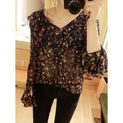 maybe-baby - Frilled-Trim Floral Print Top