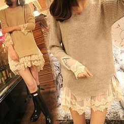 Bubbleknot - Lace-Trim Sweater Dress