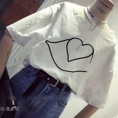 QZ Lady - Embroidered Cutout Short-Sleeve T-Shirt