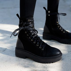 JY Shoes - Chunky Heel Lace Up Short Boots