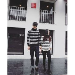 AJIEJIA - Couple Matching Striped Turtleneck Sweater
