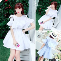 YOSH - Cut Out Shoulder Ruffle Trim Short Sleeve Dress