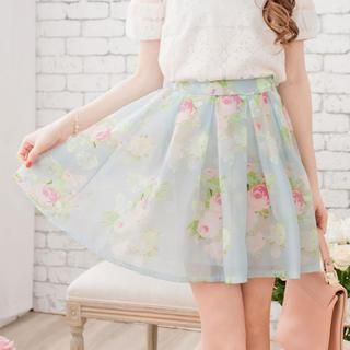 Tokyo Fashion - Pleated Floral Tulle Skirt