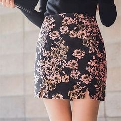 ERANZI - Slit-Hem Flower Pattern Mini Skirt
