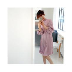 LEELIN - Frill-Collar Pleated A-Line Dress