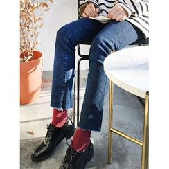 FROMBEGINNING - Fleece-Lined Straight-Cut Jeans