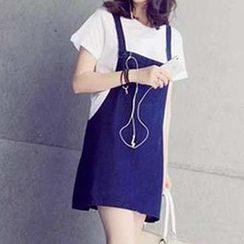 Jolly Club - Denim Suspender Skirt