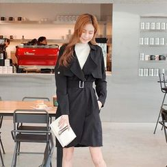 Cherryville - Open-Front Trench Coat with Belt