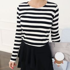 DANI LOVE - Round-Neck Ribbed Stripe T-Shirt