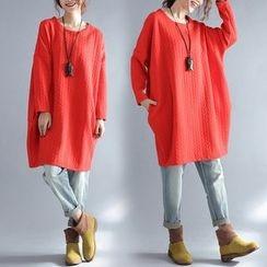 Taragon - Long-Sleeve Thick T-Shirt Dress