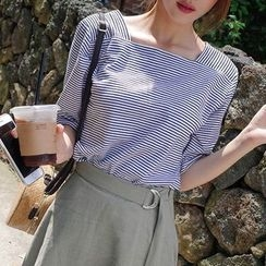 mimi&didi - Square-Neck Elbow-Sleeve Striped T-Shirt