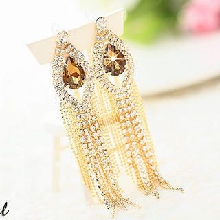 Miss Girl - Rhinestone Tasseled Earrings
