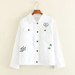 Mushi - Letter Embroidered Pocketed Denim Jacket