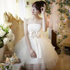 名貴風格 - 蝴蝶結飾抺胸禮服裙