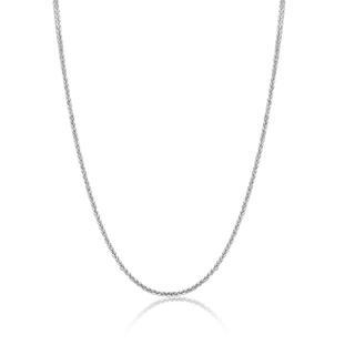 MaBelle - 18K Solid White Gold Round Wheat Chain Necklace With Spring Ring Clasp, 1mm, 16'
