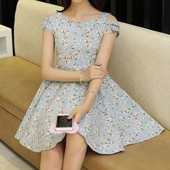 Yohana - Floral Print Cut Out Shoulder Sleeveless Dress