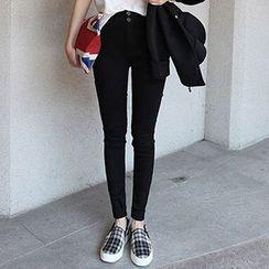 blue babe - Fleece-Lined High-Waist Skinny Jeans