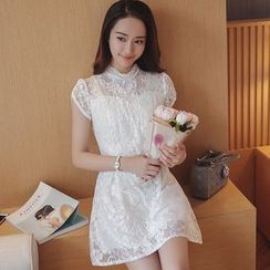 Cherry Dress - Cap-Sleeve Mock Neck Lace Dress