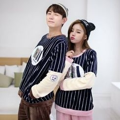 SHIRLEY - Couple Matching Pajama Set: Striped Pullover + Pants / Striped Long Sleeve Jumpsuit