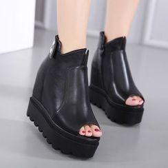 Anran - Peep Toe Platform Ankle Boots
