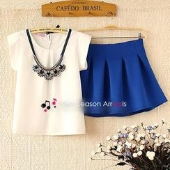 Ringnor - Set: Short-Sleeve T-Shirt + Skirt + Necklace