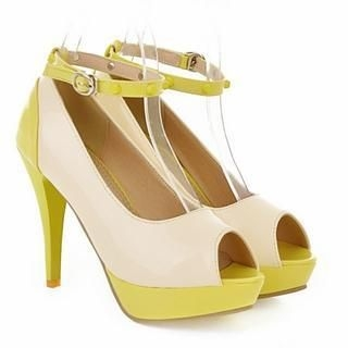 77Queen - Color-Block Peep-Toe Stilettos