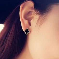 Ticoo - Rhinestone Flower Clip/Studs Earrings