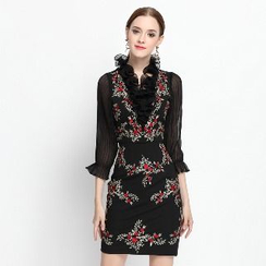Ameous - 3/4-Sleeve Embroidery Sheath Dress