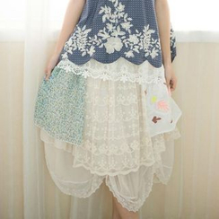 Blue Hat - Layered Lace Skirt