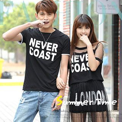 Igsoo - Couple Letter Short-Sleeve T-shirt / Mesh Panel Top + Skirt