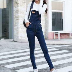 Jeans Kingdom - 窄身牛仔背帶褲