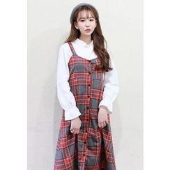 Dalkong - Sleeveless Check Midi Dress