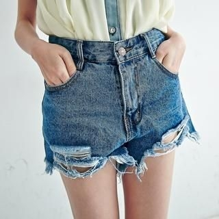 BAIMOMO - Distressed Frayed Denim Shorts