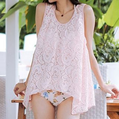 Zeta Swimwear - Set: Lace Bikini Top + Floral Print Swim Bottom + Lace Cover-Up