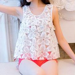 小桃泳衣 - 套裝: 印花荷葉比基尼泳衣上衣 + 泳褲 + 蕾絲罩衫