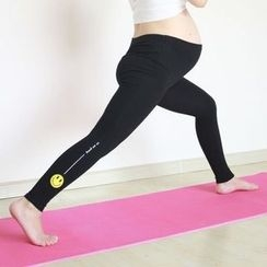 Grainie - Maternity Smiley Face Print Yoga Pants