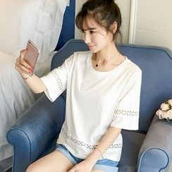 Colorful Shop - Short-Sleeve Eyelet T-Shirt