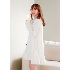 J-ANN - Frill-Hem Half-Placket Dress