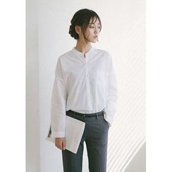 GOROKE - Mandarin-Collar Dip-Back Shirt