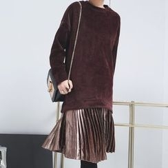 Sonne - Patchwork Pleated-Hem Velvet Pullover Dress