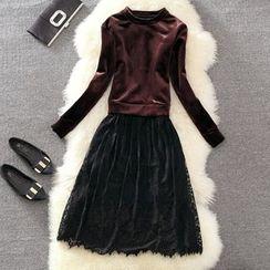 Clementine - Lace Hem Velvet Long Sleeve Dress