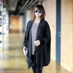 Jcstyle - Shawl-Collar Chiffon Trench Jacket