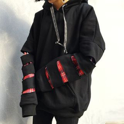 Melon Juice - Plaid Panel Ripped Hoodie