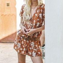 Obel - Floral Print Short Sleeve Dress