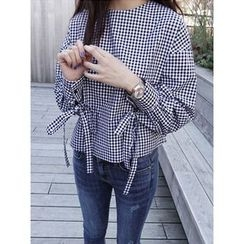 maybe-baby - Button-Back Gingham Top