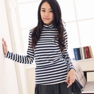 CatWorld - Turtleneck Striped T-Shirt