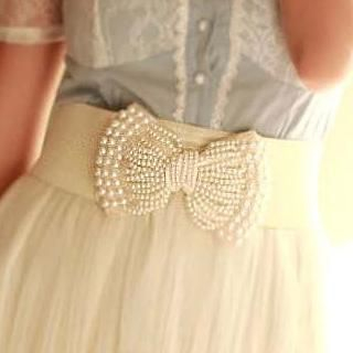 Cuteberry - Faux Pearl Bow Elasticized Belt