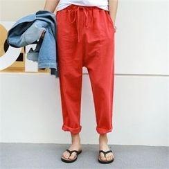PIPPIN - Drawstring-Waist Linen Blend Baggy-Fit Pants