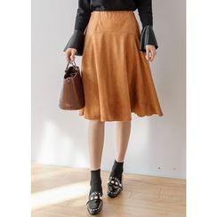 J-ANN - Faux-Suede Midi Flare Skirt