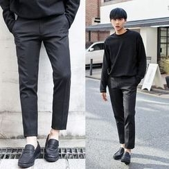 TOMONARI - Brushed-Fleece Lined Tapered Dress Pants